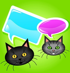 Cats with speech bubbles vector image vector image