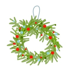 Christmas wreath sketch for your design vector image vector image