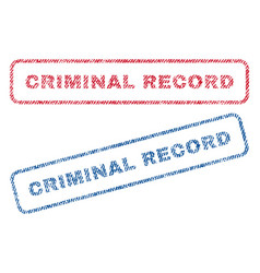 criminal record textile stamps vector image