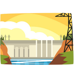hydroelectric power plant hydro energy industrial vector image vector image