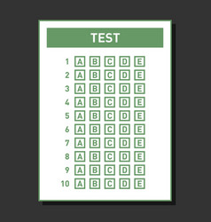 multiple choice blank nswer sheet vector image vector image