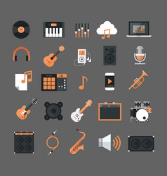 music instruments and equipment electronics icons vector image vector image