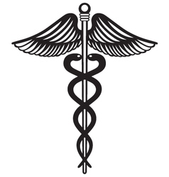 Symbol medical caduceus vector image
