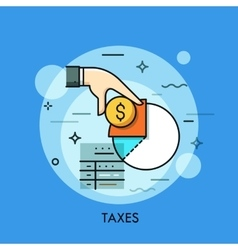 Tax form hand holding dollar coin and income vector image
