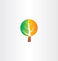 tree logo green orange icon vector image