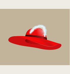 womans summer red straw hat isolated style vector image vector image