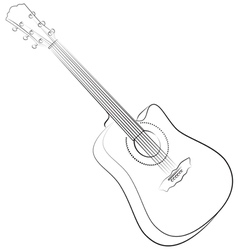 Acoustic guitar colorless vector image