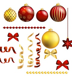 Christmas decorative ball and ribbon set vector image vector image