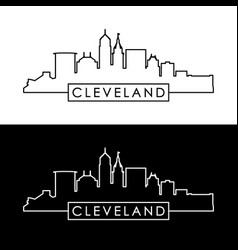 cleveland skyline black linear style vector image