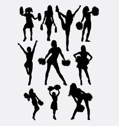 Girl cheerleader pose silhouette vector