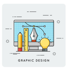 graphic design drawing engineering thin line vector image vector image