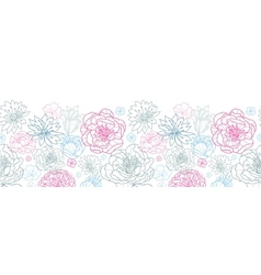 Gray and pink lineart florals horizontal seamless vector image vector image