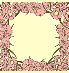 Greeting card floral background poster frame vector