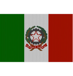 knitted italian flag and coat of arms vector image vector image