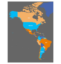 political map of americas in four colors on dark vector image