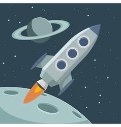 retro rocket vector image vector image