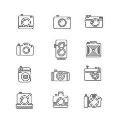 Vintage Photo Camera Icon Line Art vector image vector image