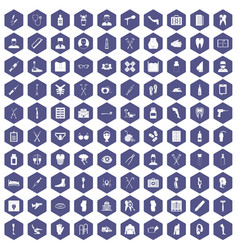 100 medical care icons hexagon purple vector