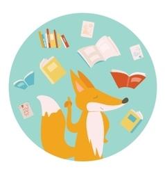Cartoon fox with books vector image vector image