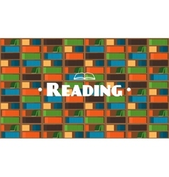 Flat style library background with books vector image