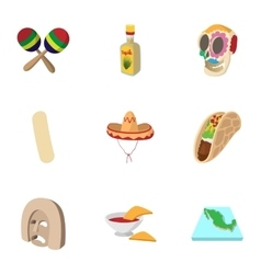 Holiday in Mexico icons set cartoon style vector image vector image