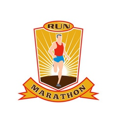 marathon runner run race shield vector image vector image