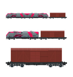 pink locomotive with closed wagon on platform vector image vector image