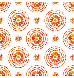 autumn pattern retro floral circles texture vector image vector image