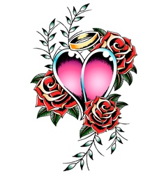 gothic heart and rose vector image vector image
