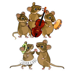 Mouse musical orchestra and a dancing couple vector