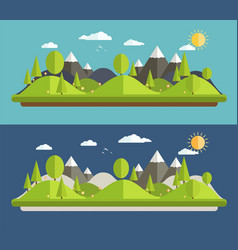natural landscapes in a flat style vector image vector image