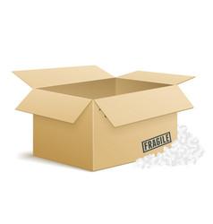 open cardboard box with foam peanuts vector image vector image