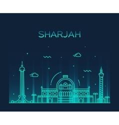 Sharjah skyline linear style vector image