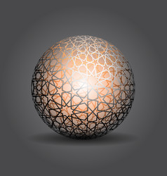 3d sphere decorated with geometric abstract shape vector