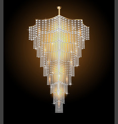 a chandelier with crystal pendants on black vector image