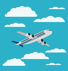 airplane flying with cloudscape vector image