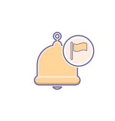 Alarm alert bell icon call flag vector