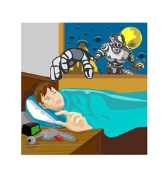 Alien Robot Snatching Kid vector