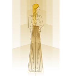 art deco female one continuous line vector image
