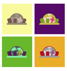 assembly flat icons halloween cemetery full moon vector image