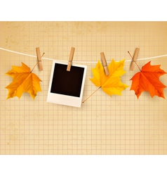 Autumn background with colorful leaves on rope vector image