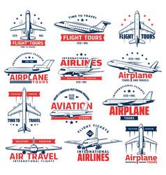 Aviation airplane plane icons air travel vector