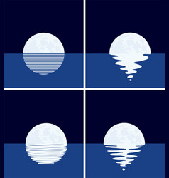 Background set sea full moon at night vector