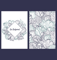backgrounds with seashells vector image