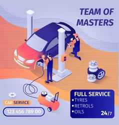 Banner advertises skilled teamwork in car service vector