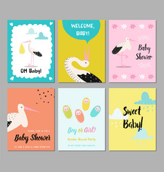 bashower cards set newborn child invitation vector image