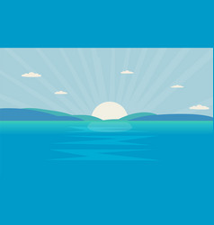 beautiful sea landscape with sun in morning ocean vector image