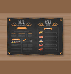 beer and sea food menu design for restaurant cafe vector image