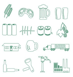 Beer drink and pub simple outline icons eps10 vector