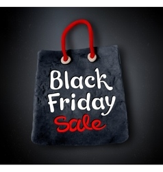 Black Friday lettering and shopping bag banner vector image